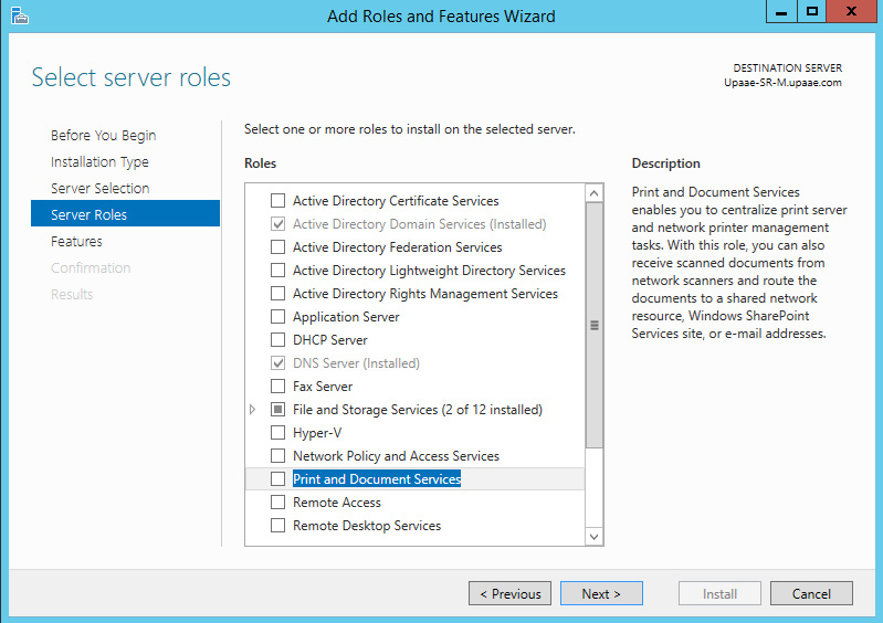 Installing Document and Print Services on windows server 2012