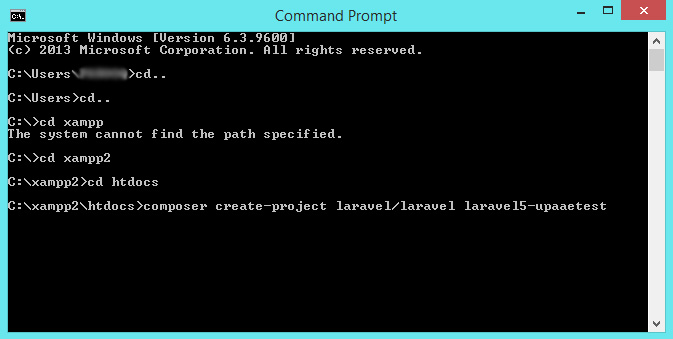 install laravel on xampp command