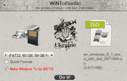 create windows install usb with wintobootic