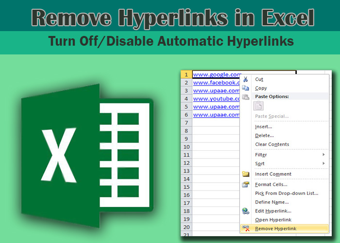 how to remove hyperlink in excel