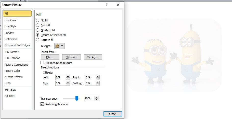 Adjust transparency of picture in Microsoft word