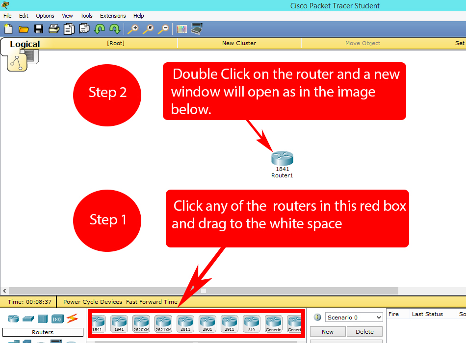 Changing the host name of a router in Cisco Packet Tracer