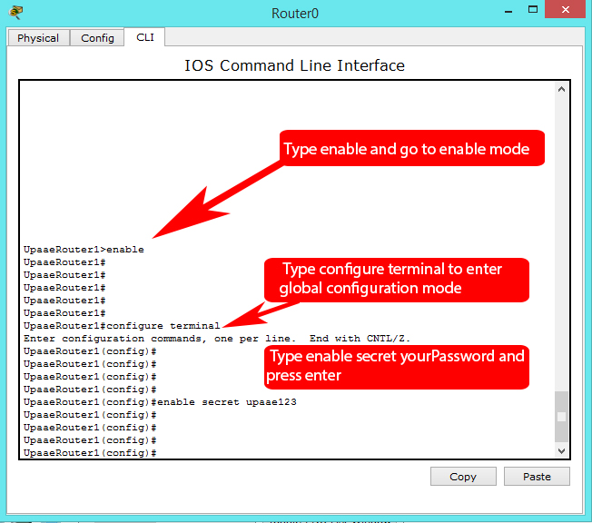 cisco enable secret password (encrypted privileged exec password)