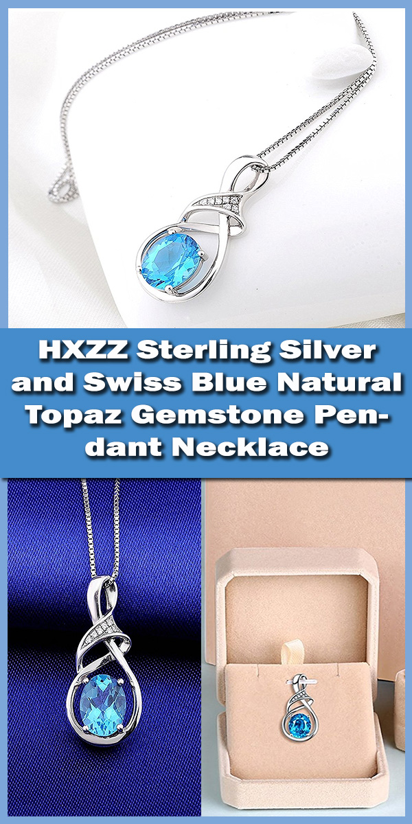 HXZZ Sterling Silver and Swiss Blue Natural Topaz Gemstone Pendant Necklace