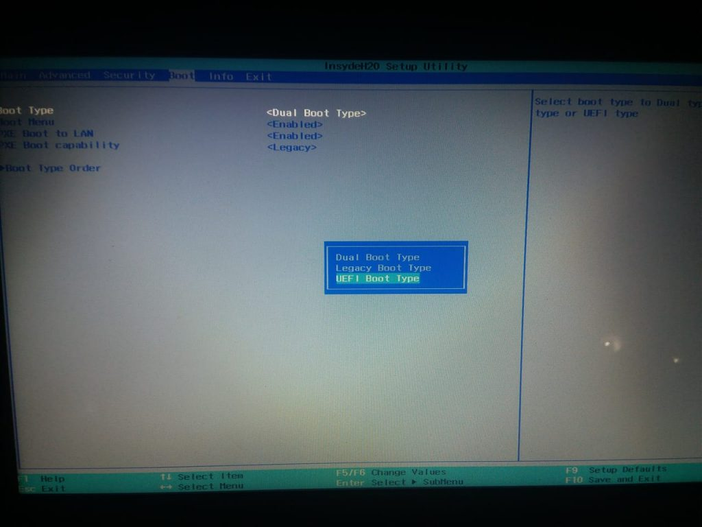 Select UEFI boot type from the boot menu. Fix Windows cannot be installed on this disk