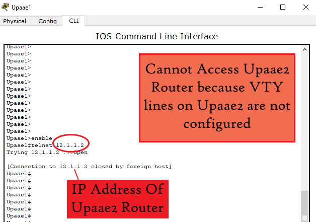 VTY lines not configured
