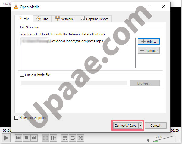 Compress audio file in VLC media player