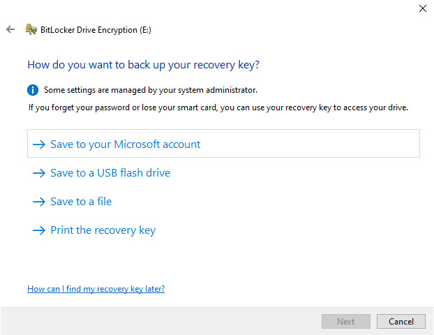 Select an option to save your bitlocker recovery key.