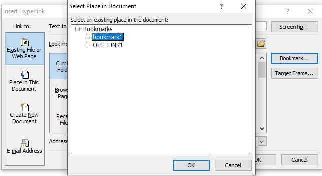 insert bookmark in word