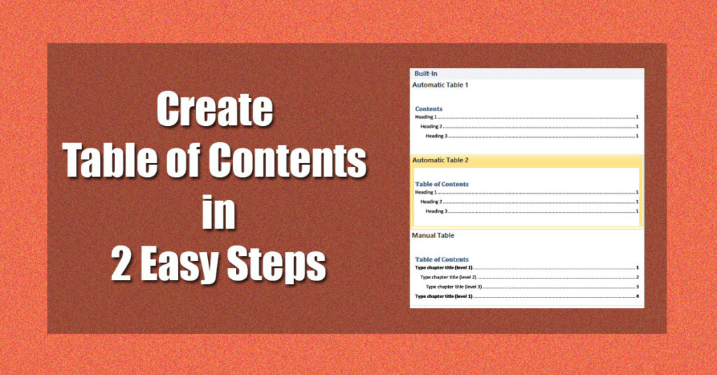 How to create table of contents in MS word.