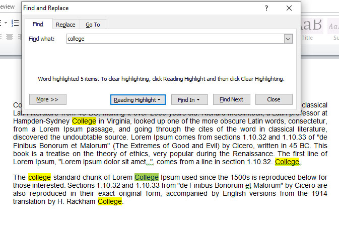 Find repetitive words in Ms Word Document.